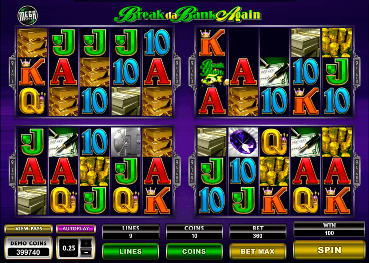 break da bank again megaspin microgaming automat pa nett