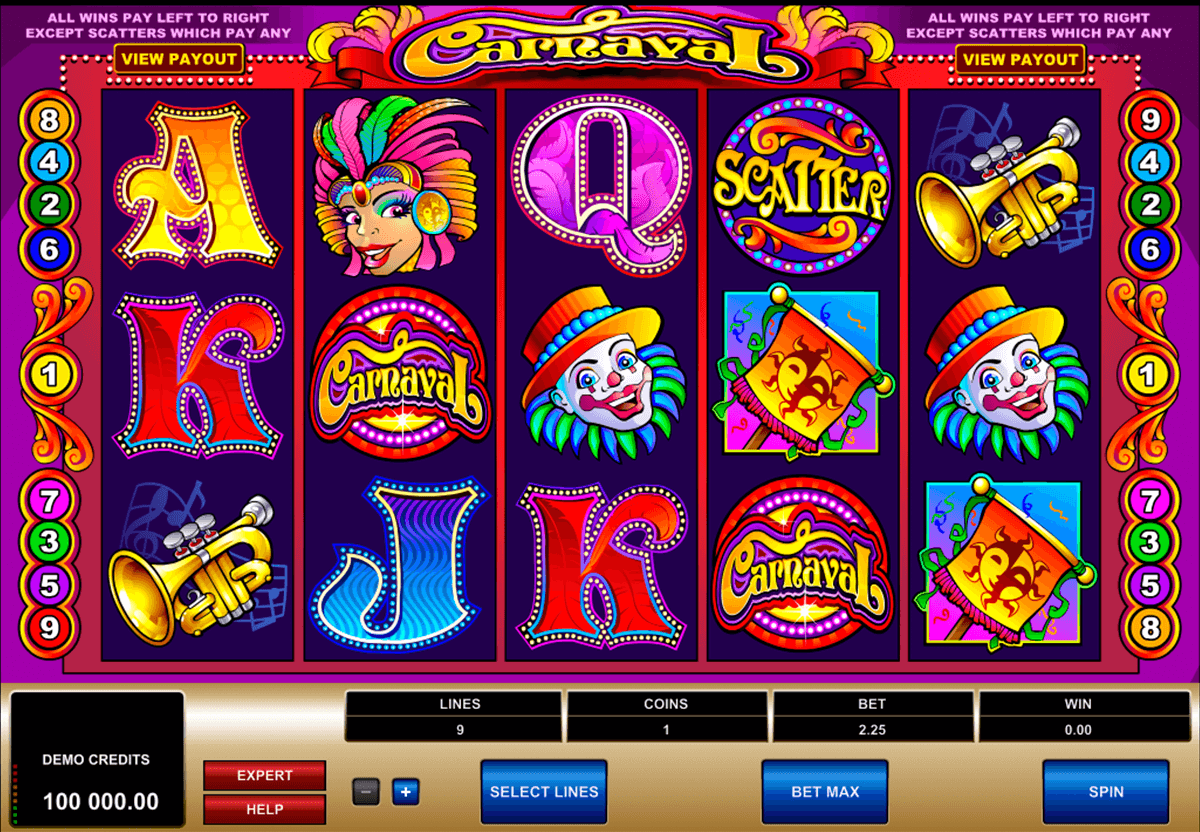 carnaval microgaming automat pa nett