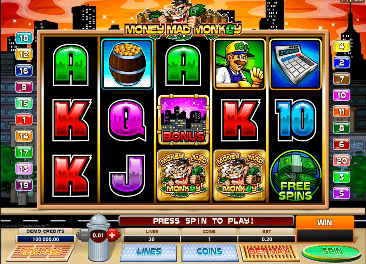 money mad monkey microgaming automat pa nett