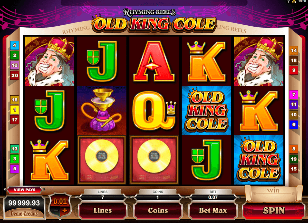 rhyming reels old king cole microgaming automat pa nett