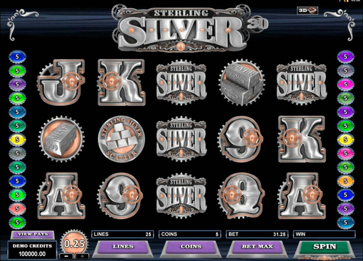 sterling silver 3d microgaming automat pa nett