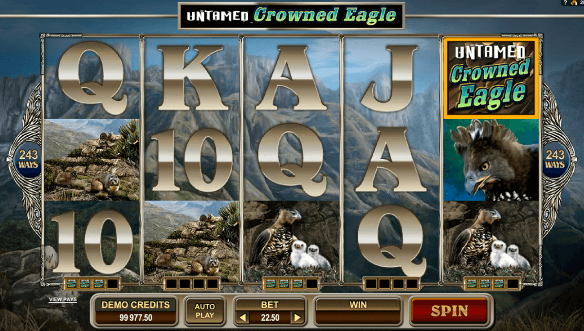 untamed crowned eagle microgaming automat pa nett